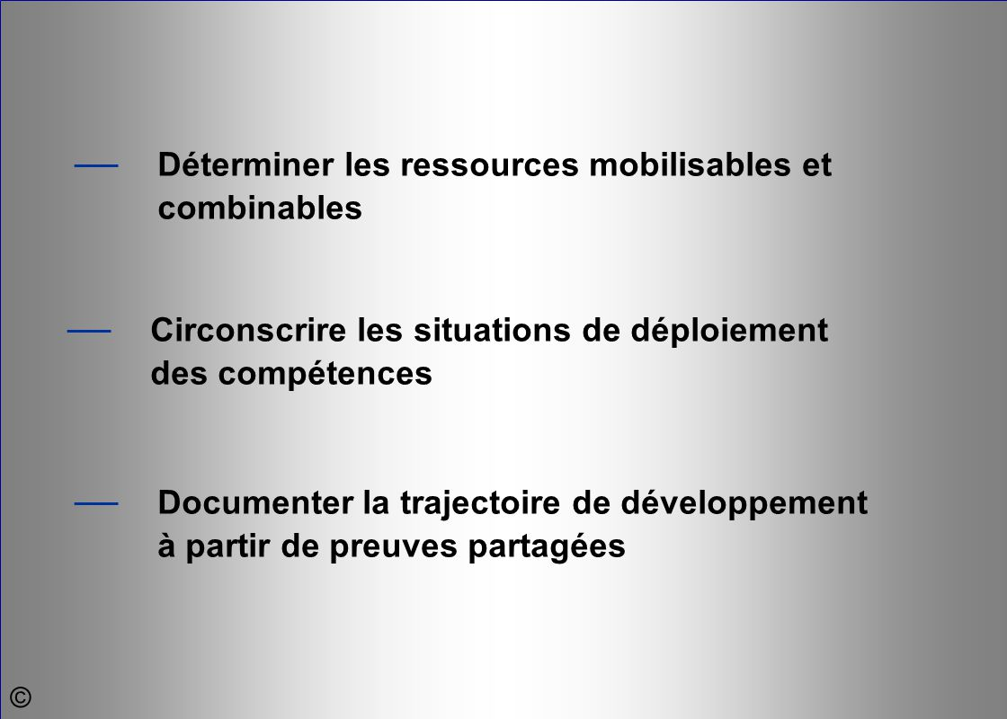 — Circonscrire les situations de déploiement des compétences — Documenter la trajectoire de développement à partir de preuves partagées — Déterminer l
