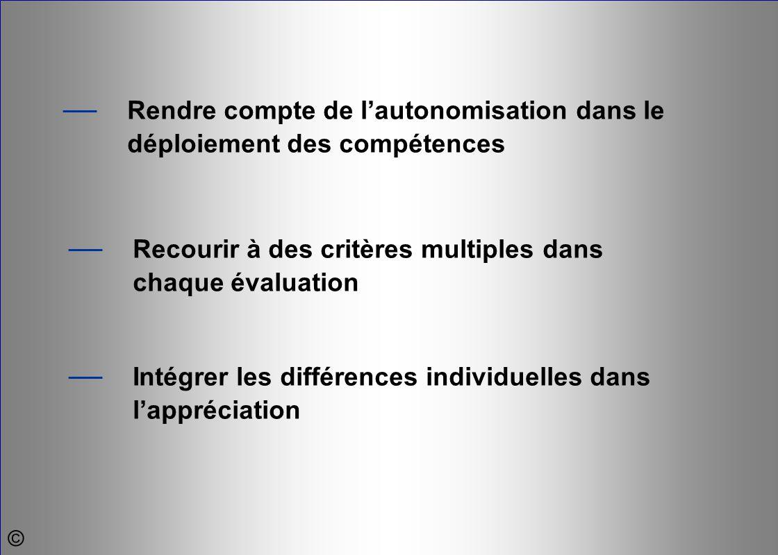 — Intégrer les différences individuelles dans l'appréciation — Recourir à des critères multiples dans chaque évaluation — Rendre compte de l'autonomis