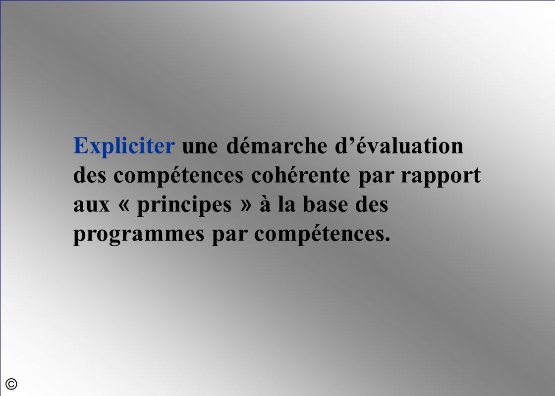 Expliciter une démarche d'évaluation des compétences cohérente par rapport aux « principes » à la base des programmes par compétences. ©
