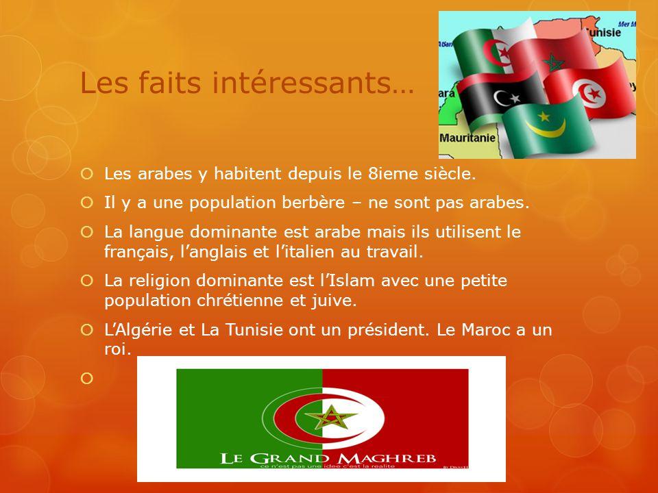 Les faits intéressants…  Les arabes y habitent depuis le 8ieme siècle.  Il y a une population berbère – ne sont pas arabes.  La langue dominante es