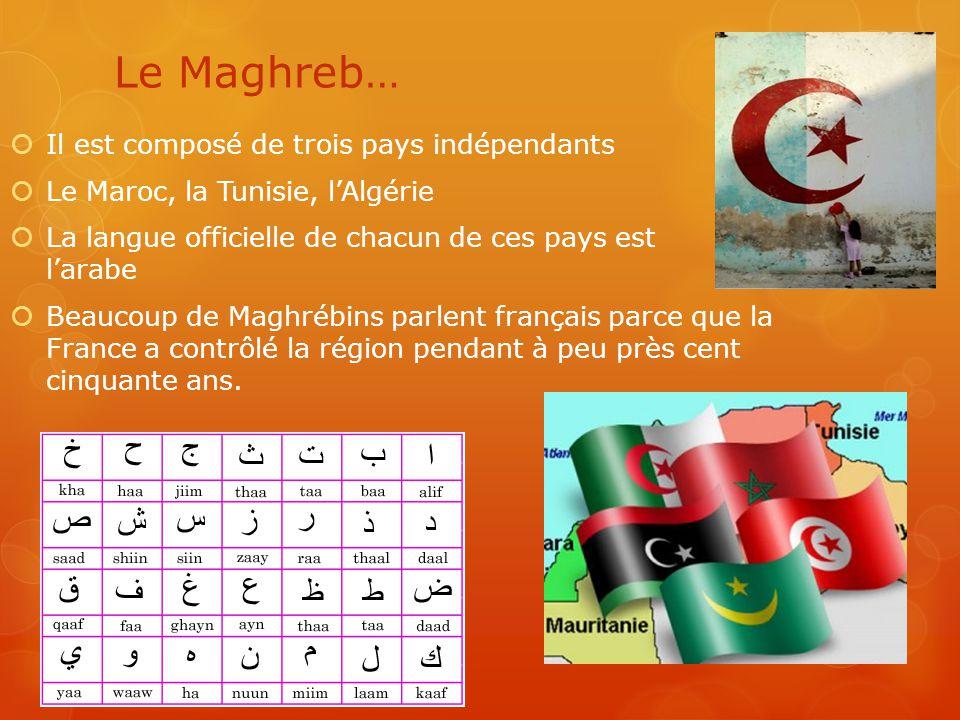 Le Maghreb…  Il est composé de trois pays indépendants  Le Maroc, la Tunisie, l'Algérie  La langue officielle de chacun de ces pays est l'arabe  B