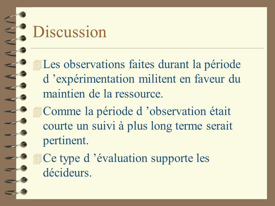 Discussion 4 Les observations faites durant la période d 'expérimentation militent en faveur du maintien de la ressource.