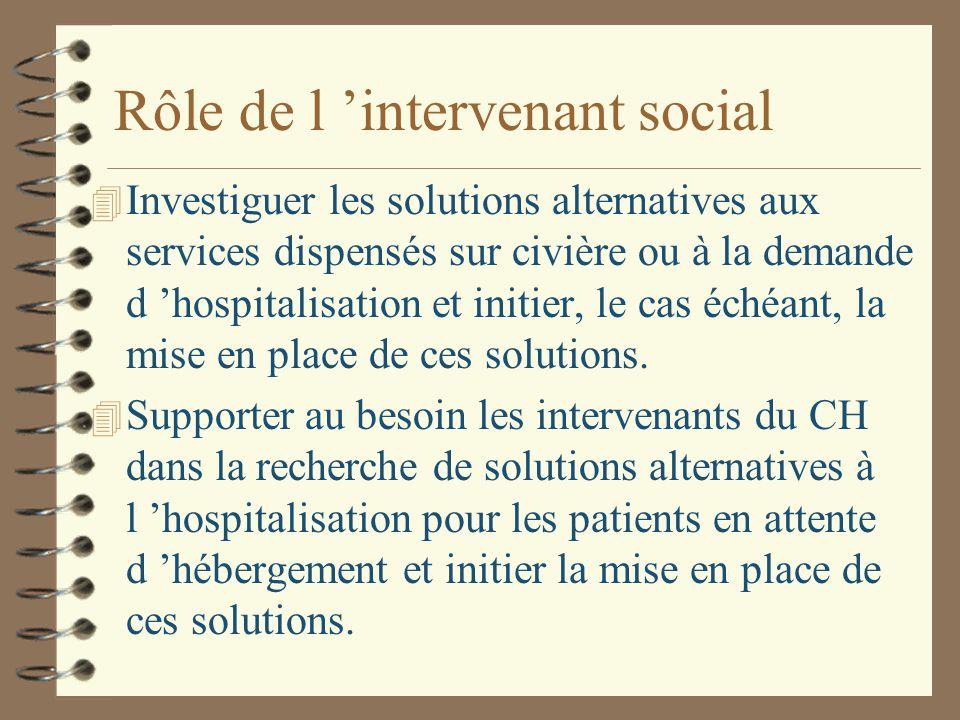 Rôle de l 'intervenant social 4 Investiguer les solutions alternatives aux services dispensés sur civière ou à la demande d 'hospitalisation et initier, le cas échéant, la mise en place de ces solutions.