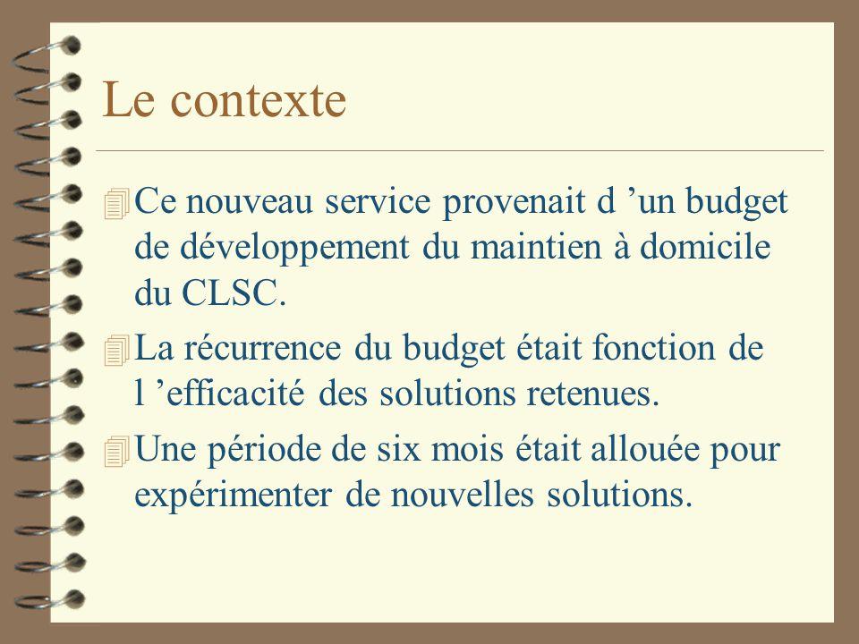 Le contexte 4 Ce nouveau service provenait d 'un budget de développement du maintien à domicile du CLSC.