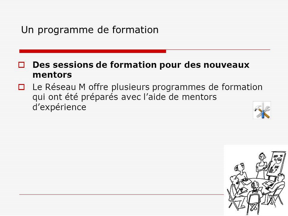 Un programme de formation  Des sessions de formation pour des nouveaux mentors  Le Réseau M offre plusieurs programmes de formation qui ont été préparés avec l'aide de mentors d'expérience