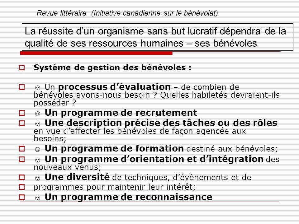  Système de gestion des bénévoles :  ☺ Un processus d'évaluation – de combien de bénévoles avons-nous besoin .