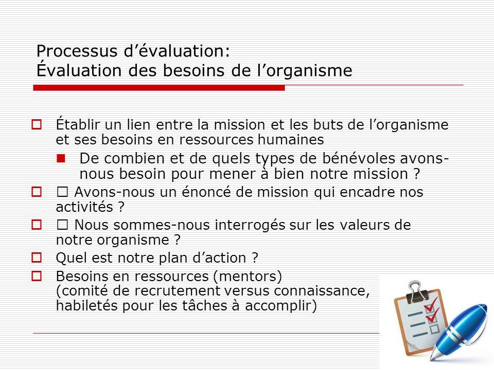 Processus d'évaluation: Évaluation des besoins de l'organisme  Établir un lien entre la mission et les buts de l'organisme et ses besoins en ressources humaines De combien et de quels types de bénévoles avons- nous besoin pour mener à bien notre mission .
