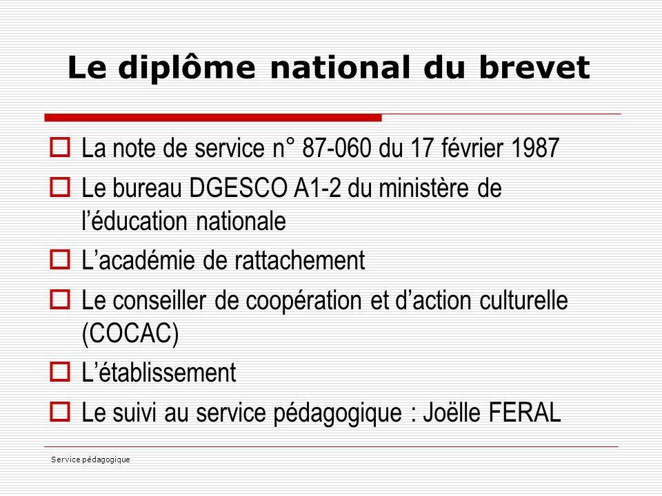 Service pédagogique Le diplôme national du brevet  La note de service n° 87-060 du 17 février 1987  Le bureau DGESCO A1-2 du ministère de l'éducatio