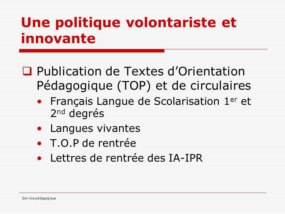 Service pédagogique Une politique volontariste et innovante  Publication de Textes d'Orientation Pédagogique (TOP) et de circulaires Français Langue