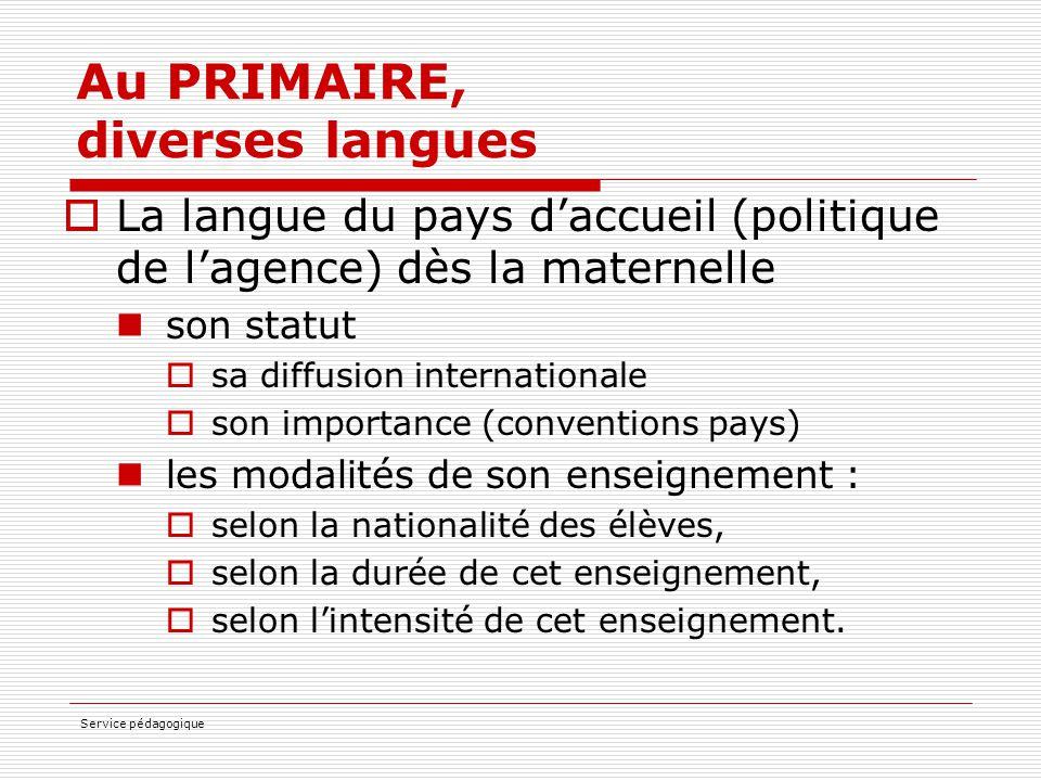 Service pédagogique Au PRIMAIRE, diverses langues  La langue du pays d'accueil (politique de l'agence) dès la maternelle son statut  sa diffusion in