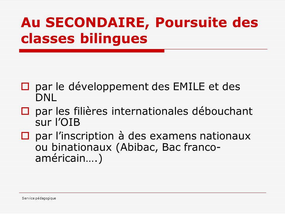 Service pédagogique Au SECONDAIRE, Poursuite des classes bilingues  par le développement des EMILE et des DNL  par les filières internationales débo