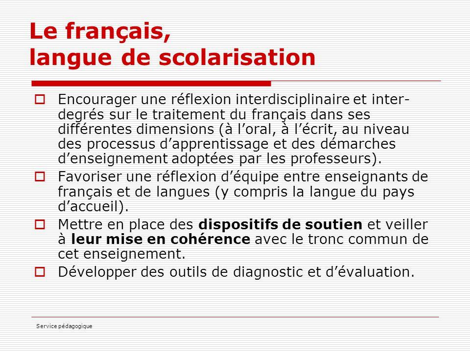 Service pédagogique Le français, langue de scolarisation  Encourager une réflexion interdisciplinaire et inter- degrés sur le traitement du français
