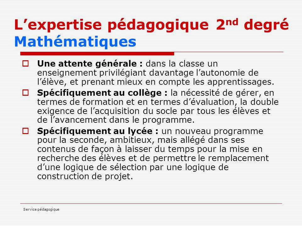 Service pédagogique L'expertise pédagogique 2 nd degré Mathématiques  Une attente générale : dans la classe un enseignement privilégiant davantage l'