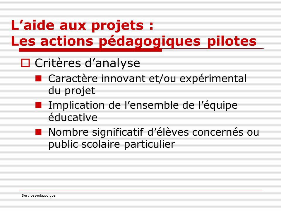 Service pédagogique L'aide aux projets : Les actions pédagogiques pilotes  Critères d'analyse Caractère innovant et/ou expérimental du projet Implica