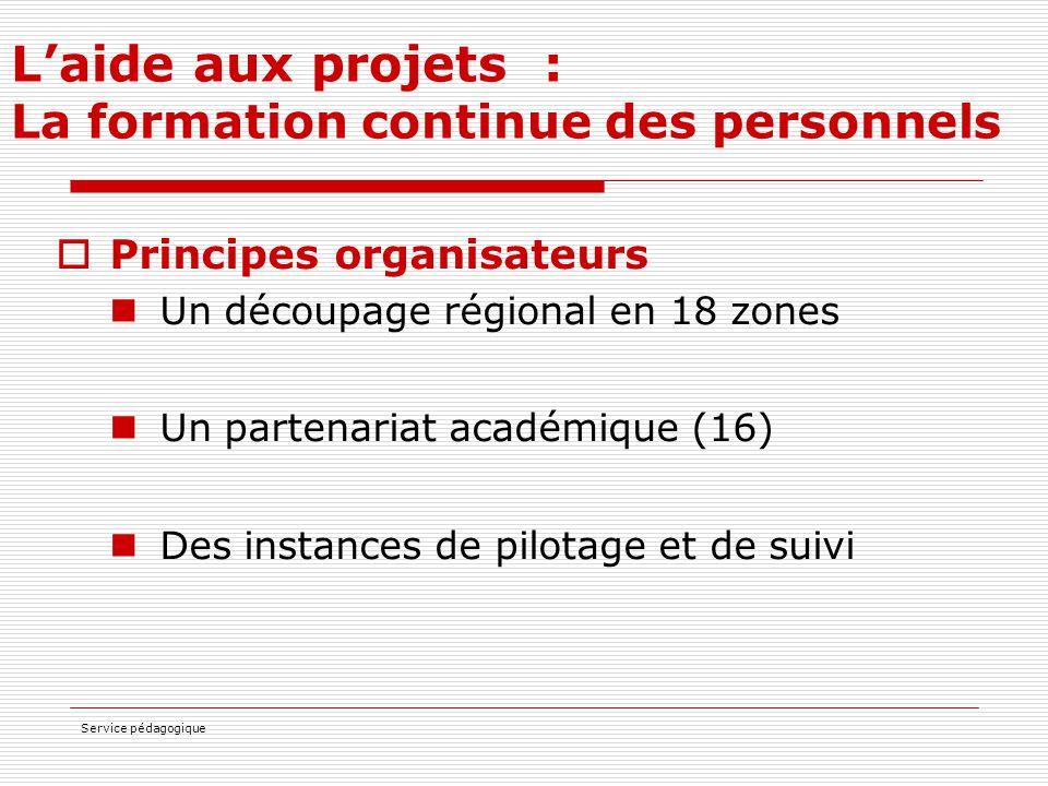 Service pédagogique L'aide aux projets : La formation continue des personnels  Principes organisateurs Un découpage régional en 18 zones Un partenari