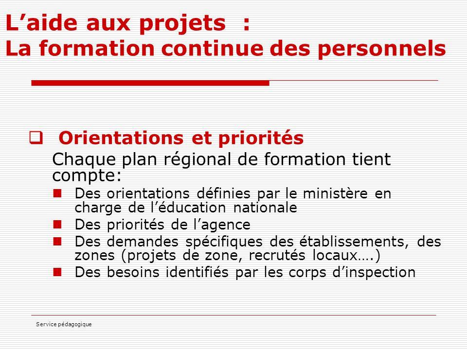 Service pédagogique L'aide aux projets : La formation continue des personnels  Orientations et priorités Chaque plan régional de formation tient comp