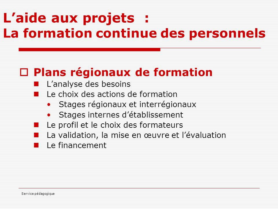 Service pédagogique L'aide aux projets : La formation continue des personnels  Plans régionaux de formation L'analyse des besoins Le choix des action