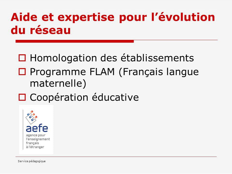 Service pédagogique Aide et expertise pour l'évolution du réseau  Homologation des établissements  Programme FLAM (Français langue maternelle)  Coo