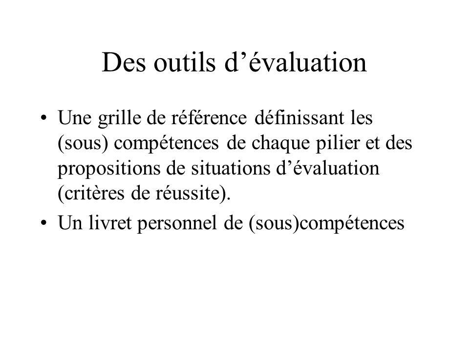 Des outils d'évaluation Une grille de référence définissant les (sous) compétences de chaque pilier et des propositions de situations d'évaluation (critères de réussite).