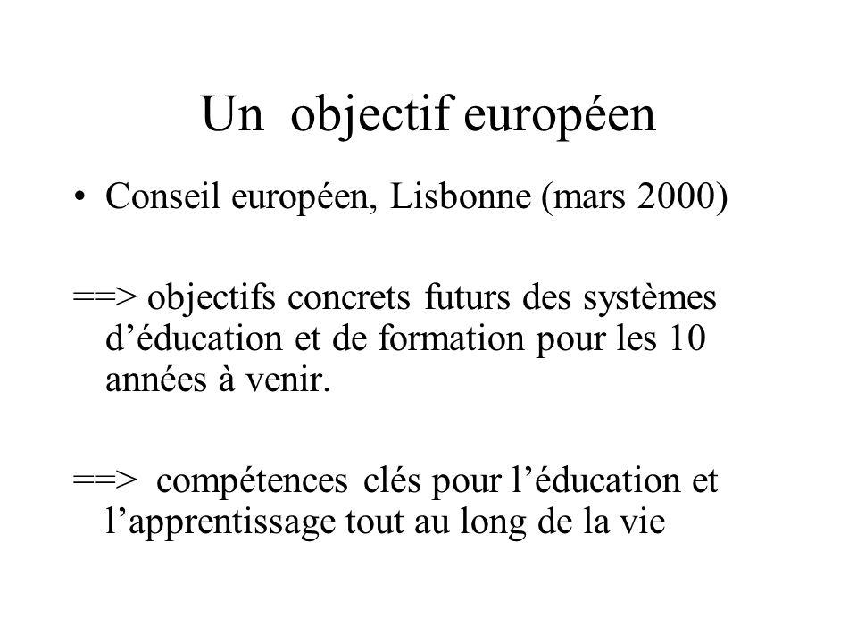 Un objectif européen Conseil européen, Lisbonne (mars 2000) ==> objectifs concrets futurs des systèmes d'éducation et de formation pour les 10 années à venir.