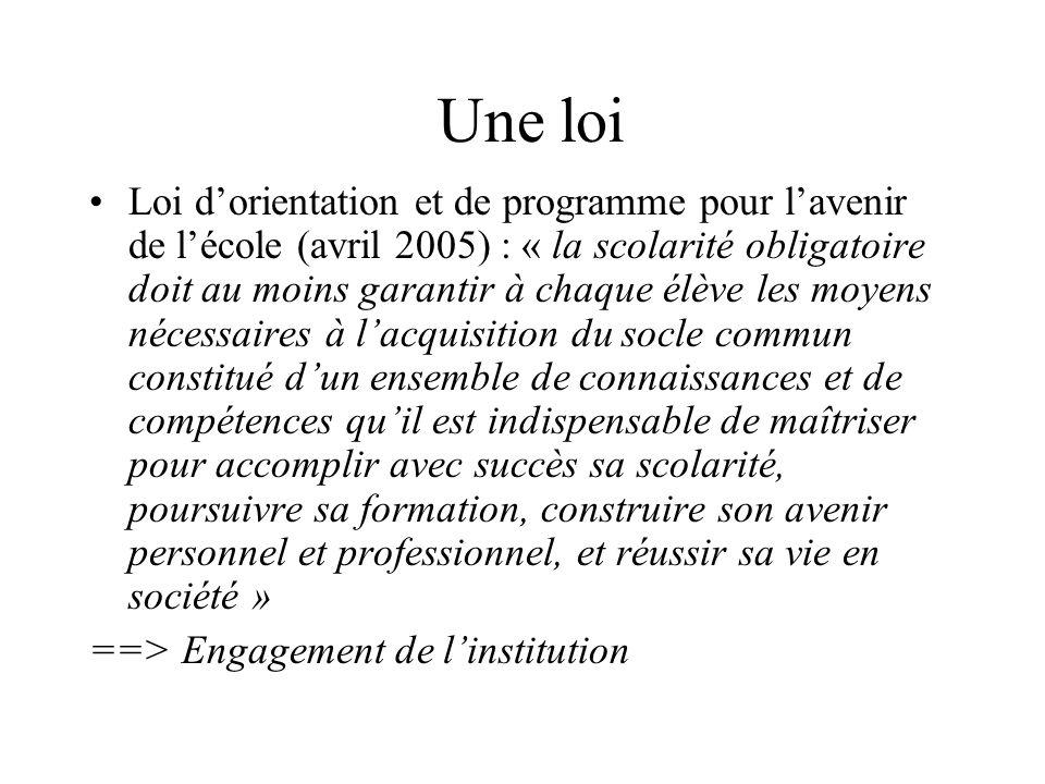Une loi Loi d'orientation et de programme pour l'avenir de l'école (avril 2005) : « la scolarité obligatoire doit au moins garantir à chaque élève les