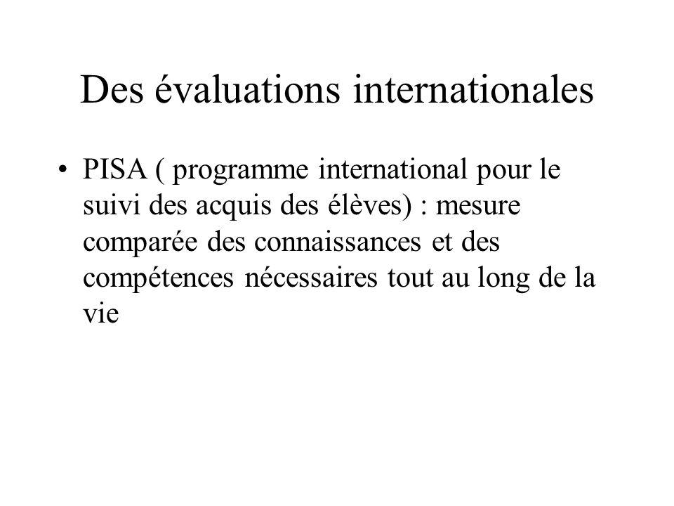 Des évaluations internationales PISA ( programme international pour le suivi des acquis des élèves) : mesure comparée des connaissances et des compétences nécessaires tout au long de la vie
