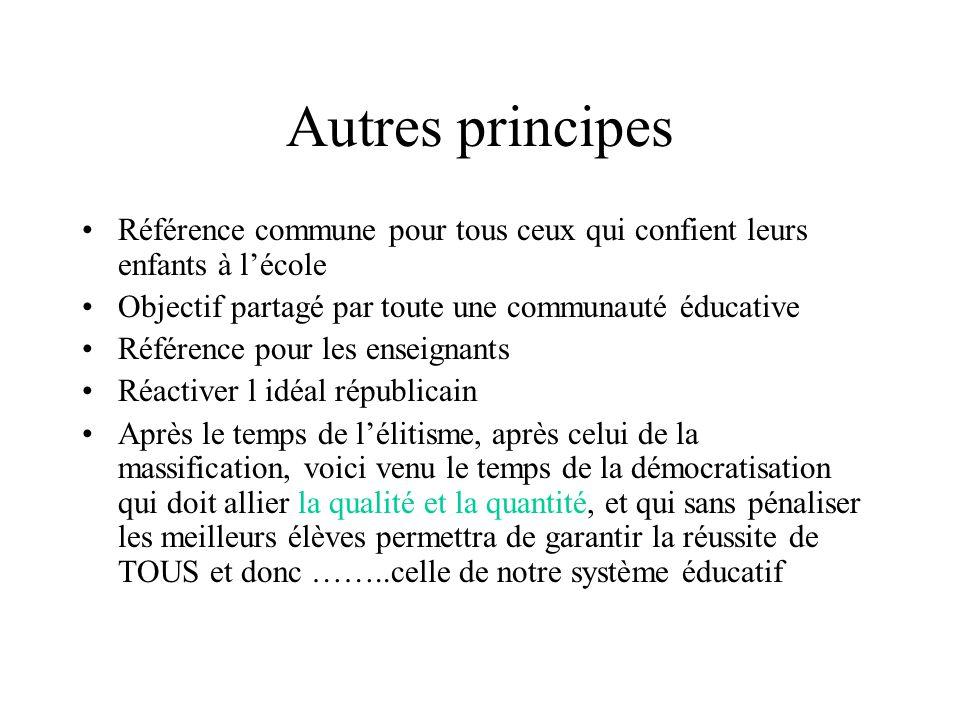 Autres principes Référence commune pour tous ceux qui confient leurs enfants à l'école Objectif partagé par toute une communauté éducative Référence p