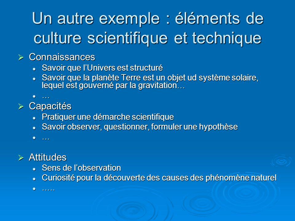Un exemple : Langue Française  Connaissances Vocabulaire Vocabulaire Grammaire Grammaire Orthographe Orthographe  Capacités Lire Lire Ecrire Ecrire