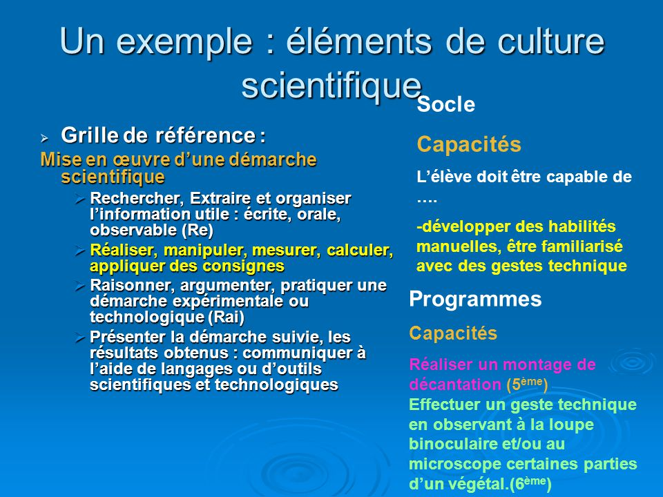 Un exemple : éléments de culture scientifique  Programme  Cycle adaptation  Rien  Cycle central  Atomes-molécules (4 ème )  S-T-L (5 ème )  Sou