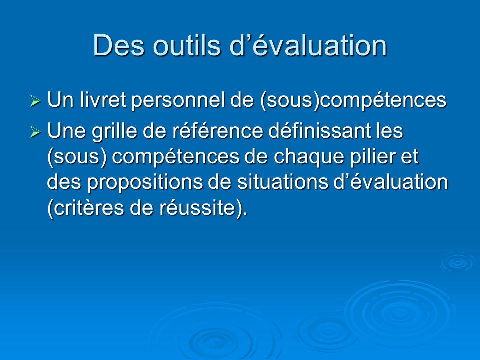 Evaluation des « grandes » compétences  Tout au long de la scolarité  Par tous  Validations à 4 paliers :  Fin de cycle II (fin de CE1)  Fin de c