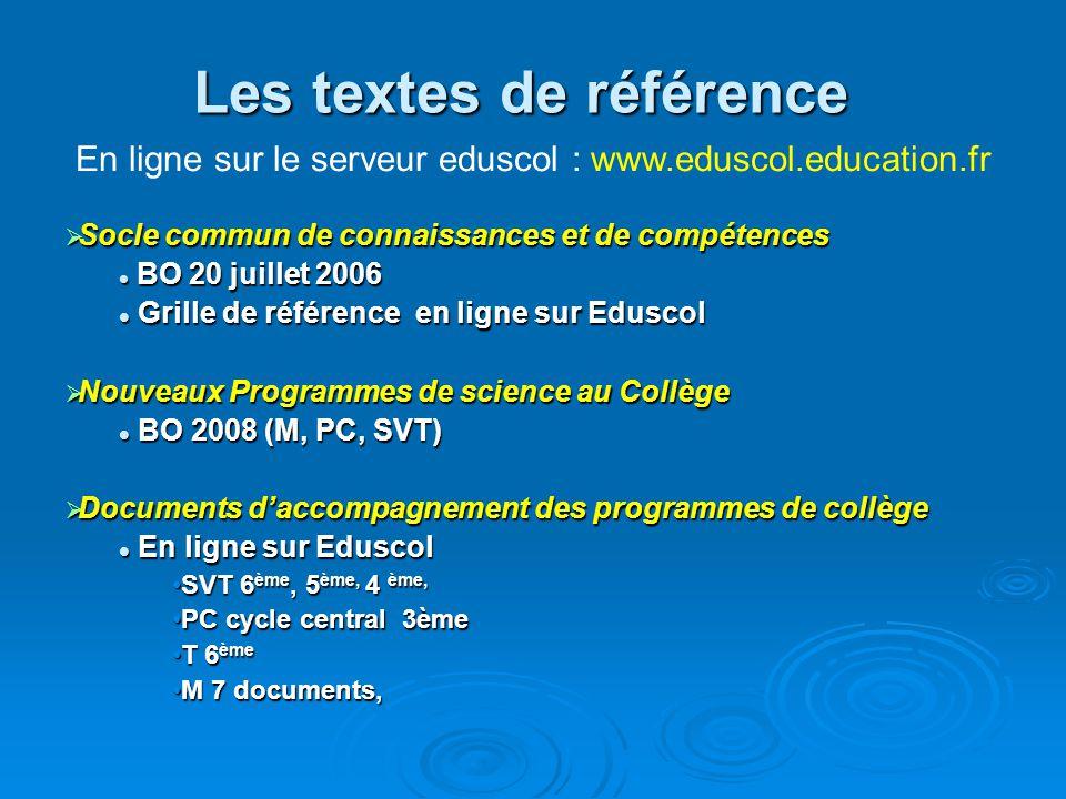 Des nouveaux programmes successifs en science Pourquoi ?  EN 2005 Continuité avec l'école primaire (PRESTE en 2002 à l'école) Continuité avec l'école