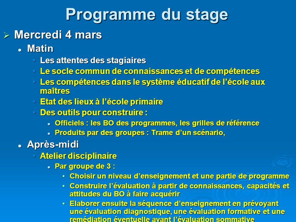 Programme prévisionnel du stage  Mercredi 4 mars Le socle commun de connaissances et de compétences Le socle commun de connaissances et de compétence