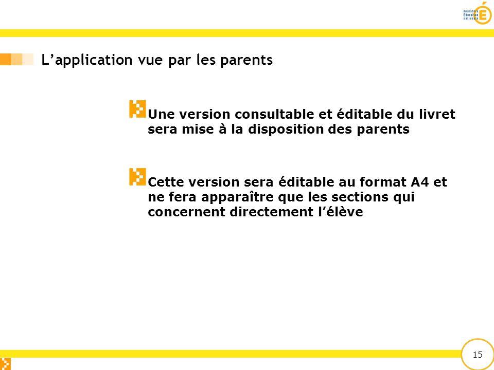 15 L'application vue par les parents Une version consultable et éditable du livret sera mise à la disposition des parents Cette version sera éditable