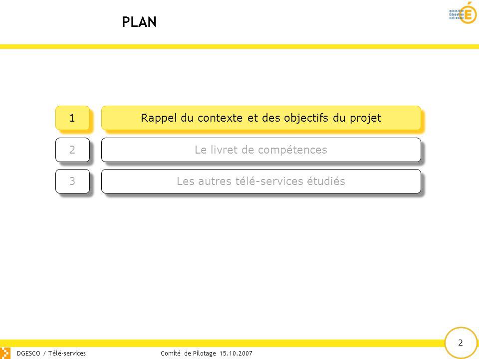 2 PLAN DGESCO / Télé-servicesComité de Pilotage 15.10.2007 Rappel du contexte et des objectifs du projet 1 1 Les autres télé-services étudiés 3 3 Le l