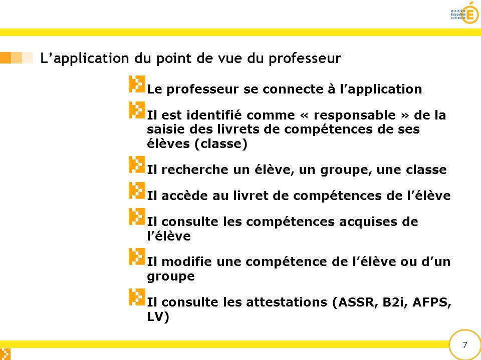 7 L'application du point de vue du professeur Le professeur se connecte à l'application Il est identifié comme « responsable » de la saisie des livret