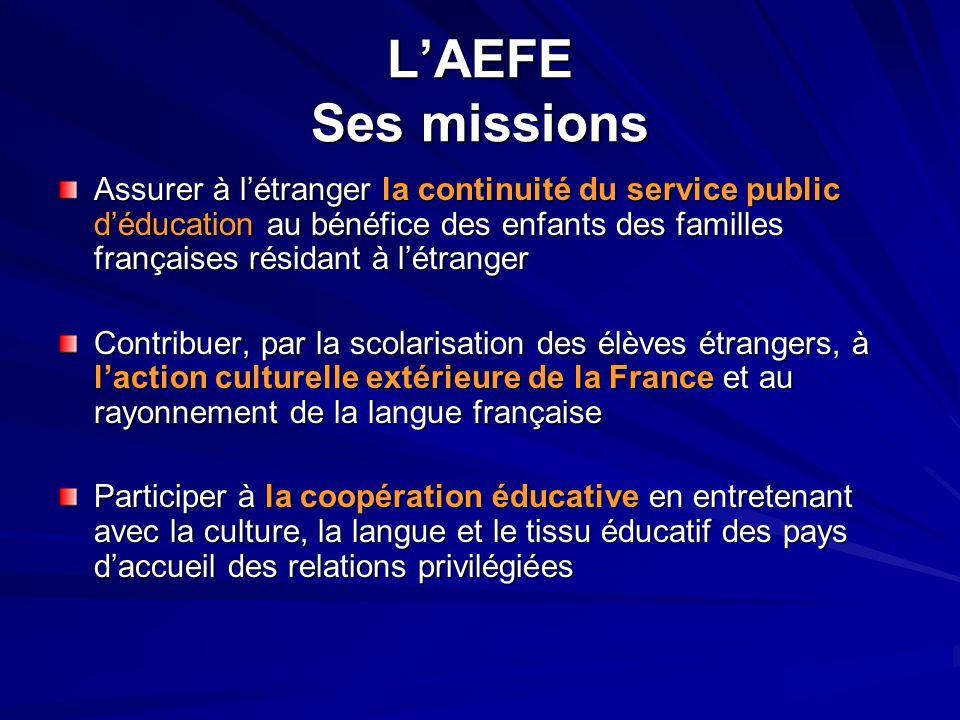 L'AEFE Ses missions Assurer à l'étranger la continuité du service public d'éducation au bénéfice des enfants des familles françaises résidant à l'étra
