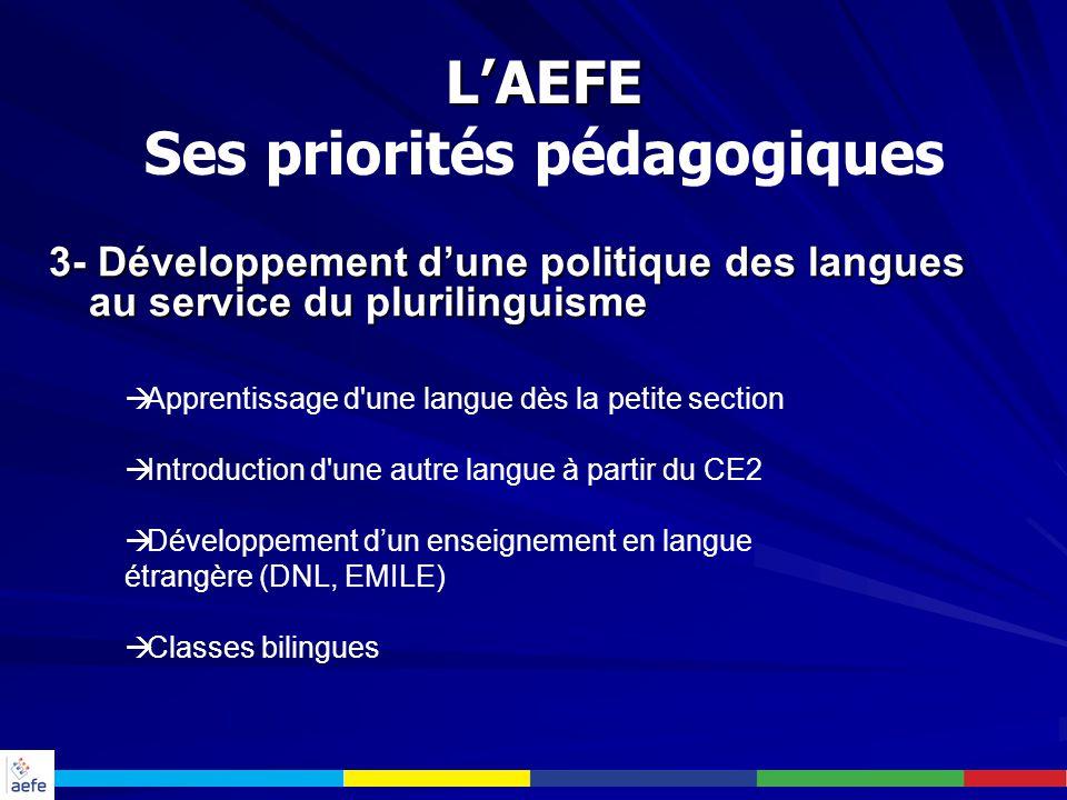 3- Développement d'une politique des langues au service du plurilinguisme  Apprentissage d'une langue dès la petite section  Introduction d'une autr