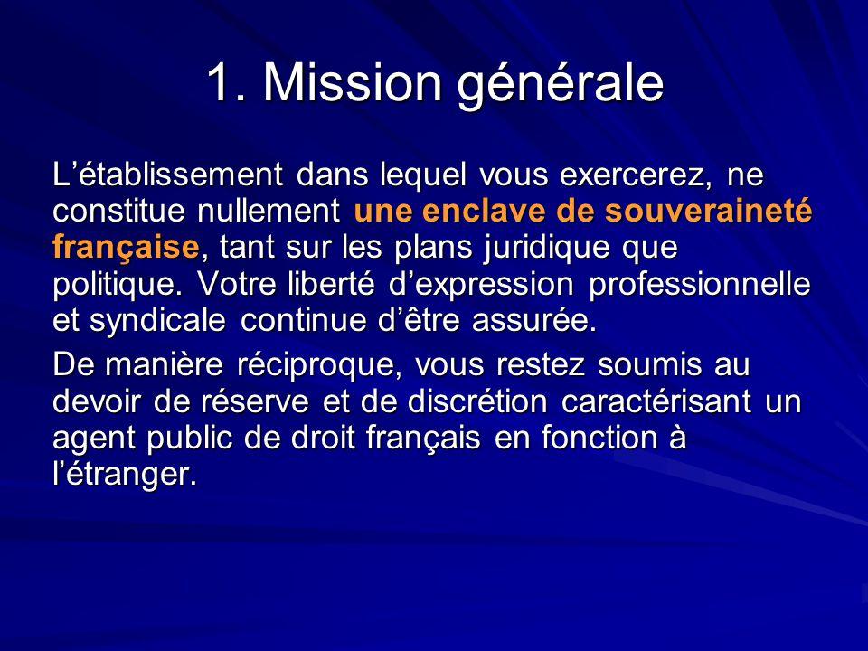 1. Mission générale L'établissement dans lequel vous exercerez, ne constitue nullement une enclave de souveraineté française, tant sur les plans jurid