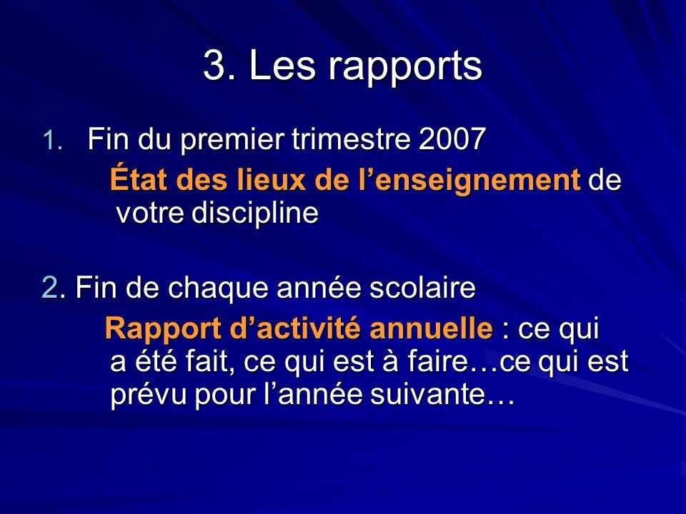 3. Les rapports 1. Fin du premier trimestre 2007 État des lieux de l'enseignement de votre discipline État des lieux de l'enseignement de votre discip