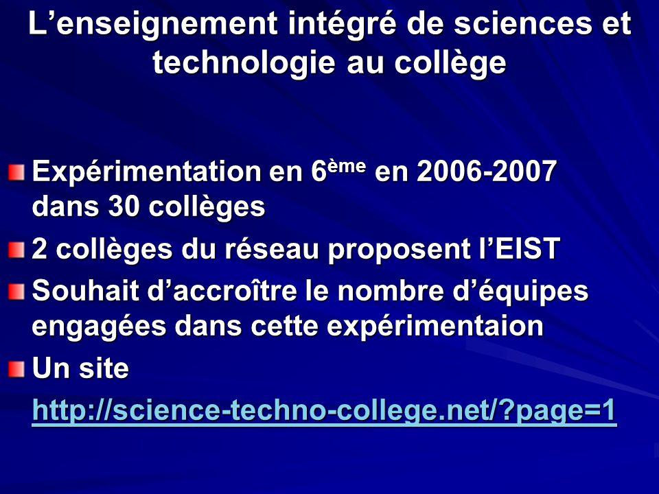 L'enseignement intégré de sciences et technologie au collège Expérimentation en 6 ème en 2006-2007 dans 30 collèges 2 collèges du réseau proposent l'E