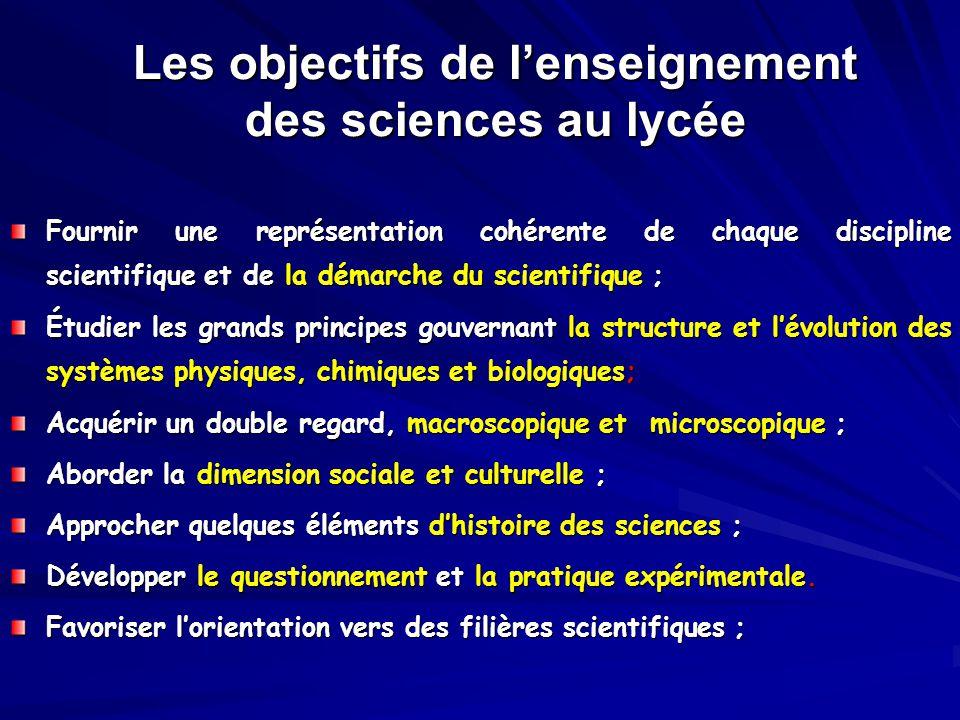 Les objectifs de l'enseignement des sciences au lycée Fournir une représentation cohérente de chaque discipline scientifique et de la démarche du scie