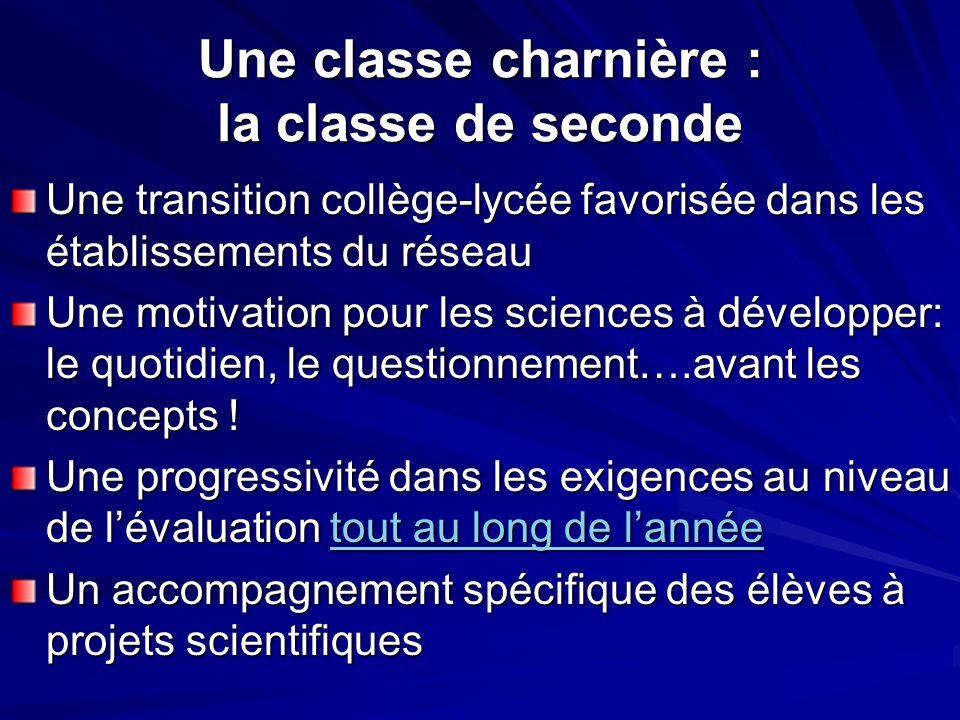 Une classe charnière : la classe de seconde Une transition collège-lycée favorisée dans les établissements du réseau Une motivation pour les sciences