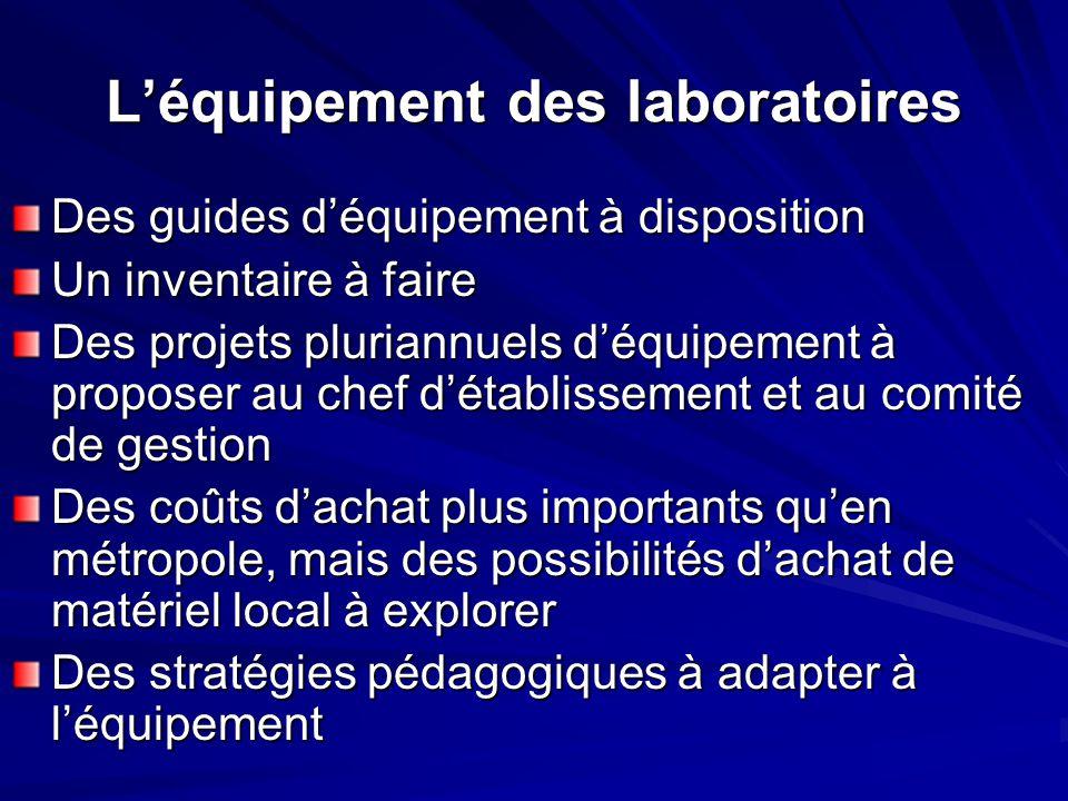 L'équipement des laboratoires Des guides d'équipement à disposition Un inventaire à faire Des projets pluriannuels d'équipement à proposer au chef d'é