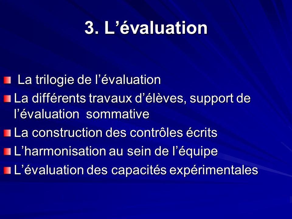 3. L'évaluation La trilogie de l'évaluation La trilogie de l'évaluation La différents travaux d'élèves, support de l'évaluation sommative La construct