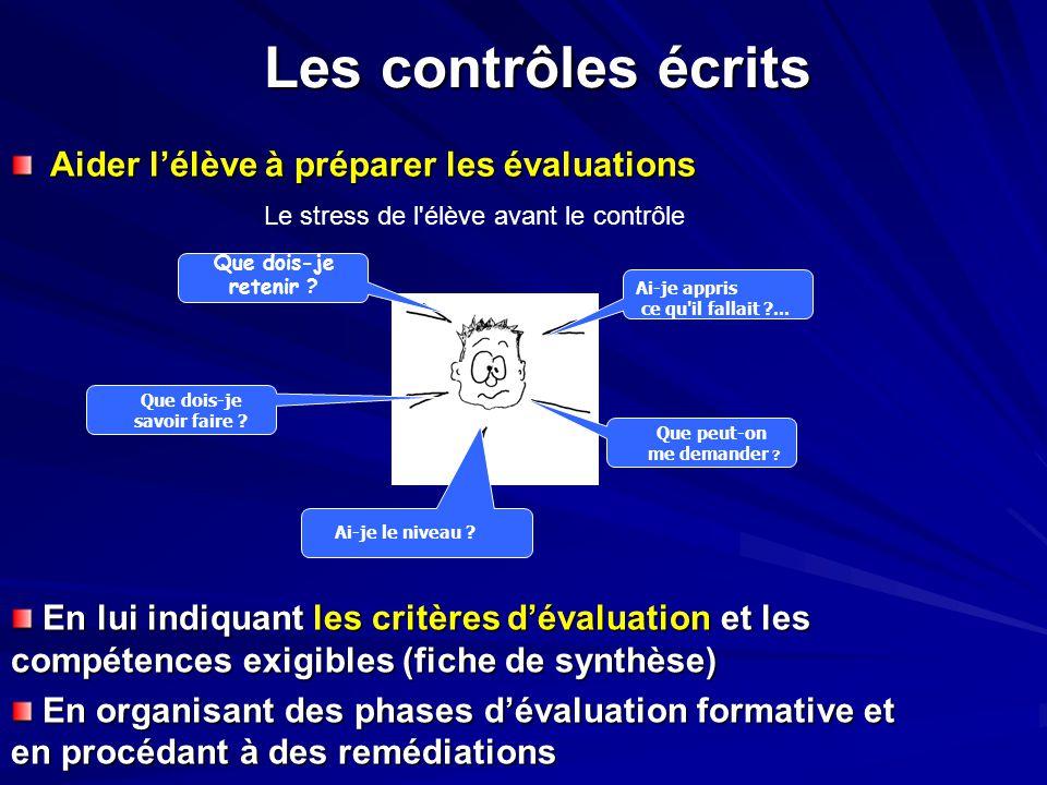 Les contrôles écrits Aider l'élève à préparer les évaluations Le stress de l'élève avant le contrôle En lui indiquant les critères d'évaluation et les