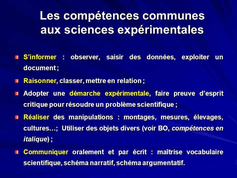 Les compétences communes aux sciences expérimentales S'informer : observer, saisir des données, exploiter un document ; Raisonner, classer, mettre en