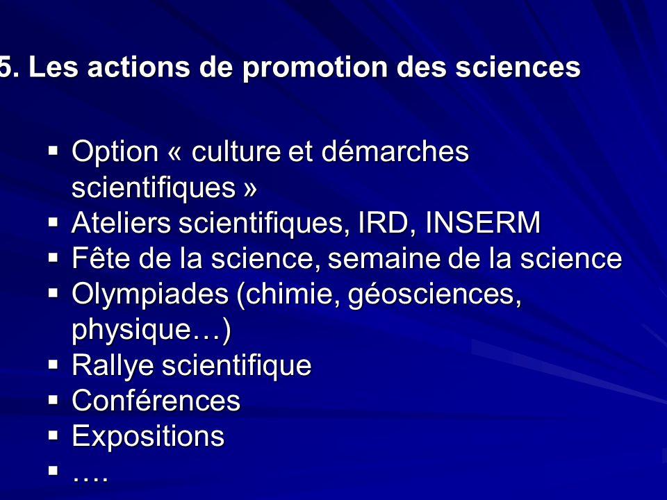  Option « culture et démarches scientifiques »  Option « culture et démarches scientifiques »  Ateliers scientifiques, IRD, INSERM  Fête de la sci