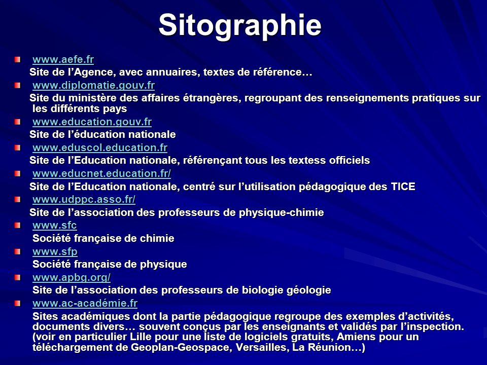 Sitographie www.aefe.fr Site de l'Agence, avec annuaires, textes de référence… Site de l'Agence, avec annuaires, textes de référence… www.diplomatie.g