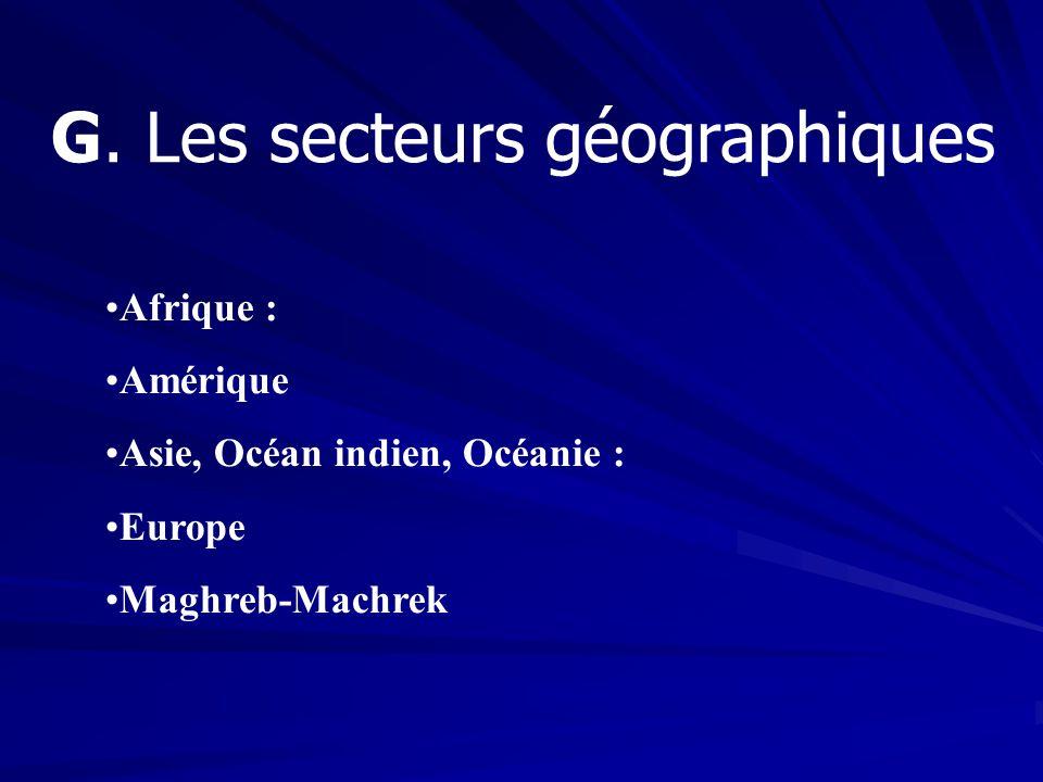 G. Les secteurs géographiques Afrique : Amérique Asie, Océan indien, Océanie : Europe Maghreb-Machrek
