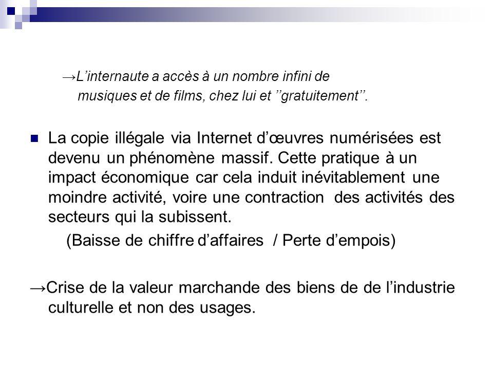 Impact économique de la copie illégale des biens numérisés L'analyse économique montre que ces comportements de « passager clandestin » (i.e.
